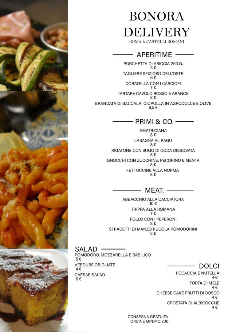 bonora delivery menu PRIMI, SECONDI, DOLCI